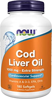 Now Foods - Cod Liver Oil Extra Strength 1000 Mg. 180 Softgels