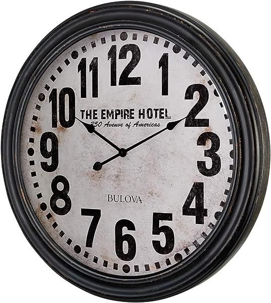 Bulova C4819 Hotelier Wall Clock 60 Distressed Black Finish