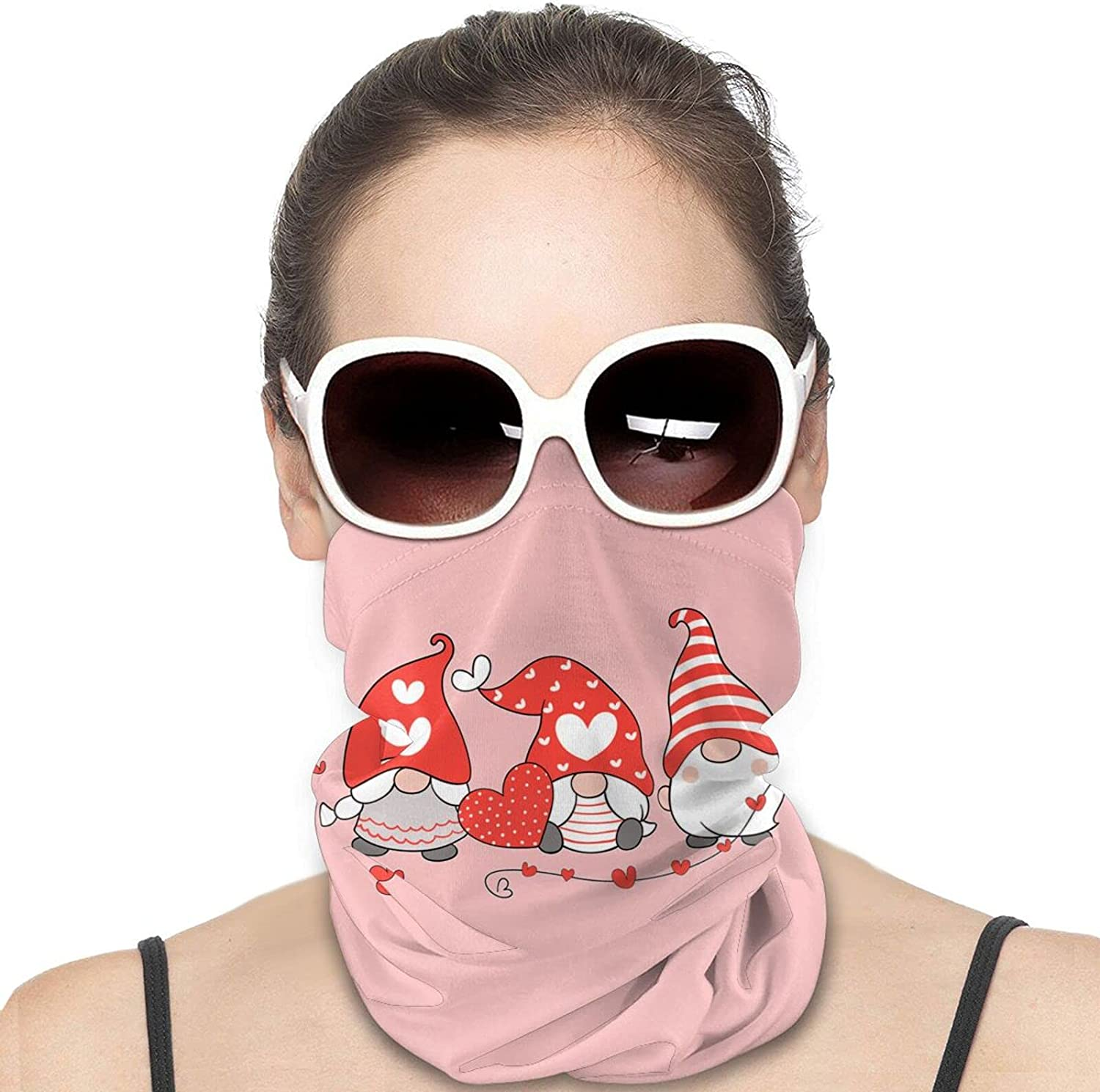 Valentines Day Gnome Round Neck Gaiter Bandnas Face Cover Uv Protection Prevent bask in Ice Scarf Headbands Perfect for Motorcycle Cycling Running Festival Raves Outdoors