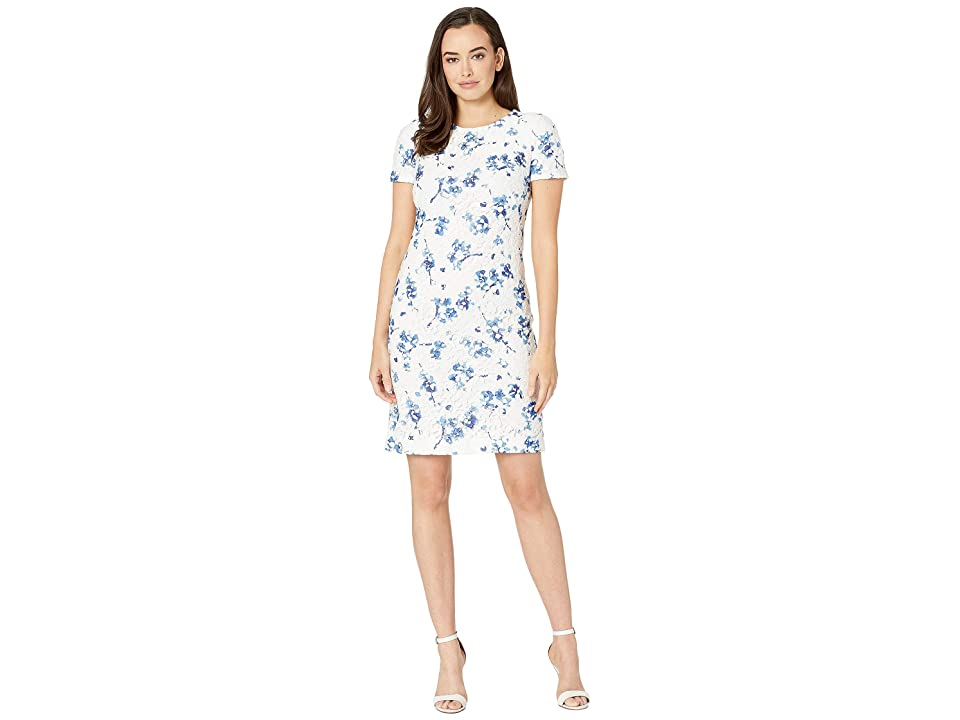 LAUREN Ralph Lauren B773 La Vara Floral Adika Short Sleeve Day Dress (Lauren White/Blue/Multi) Women