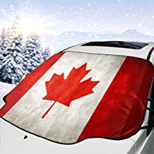 Fu Qi Rui Shang Mao Canada Flag Car Windshield Snow Cover,Windshield Snow Ice Cover with Side Mirror Covers,Windproof Summer Windshield Sun Shade Fits Most Cars and SUV