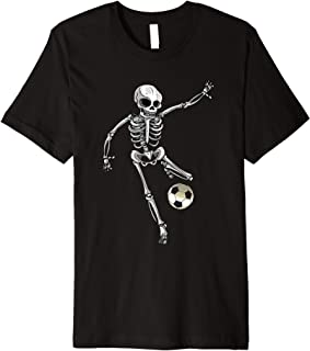 Skeleton Goalie Halloween Funny Soccer Football Easy Costume Premium T-Shirt