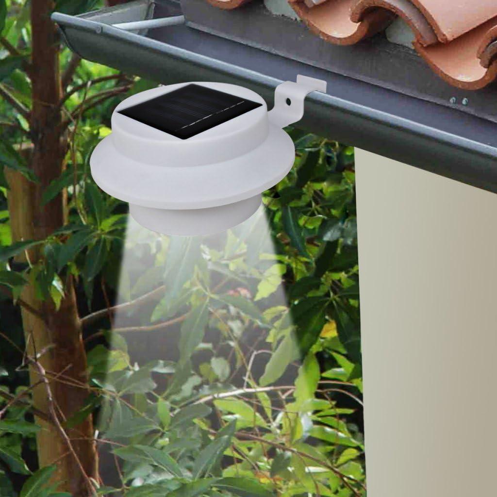 Festnight 6er-Set Außenlampe LED Solarleuchte Sonnenlichtset Zaunlicht Dekorationsbeleuchtung Kaltweiß für Garten Terrassen Wege - Schwarz Weiß