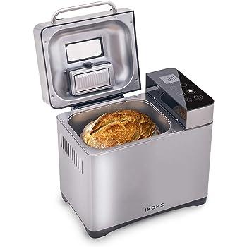 MooSoo Panificadora, 25 Programs/Automática/Capacidad 1 kg/Olla de Cerámica Antiadherente/Panel LCD Táctil Digital/15H Temporizador/, para Pan Sin Gluten, Mermelada y Yogur: Amazon.es: Hogar