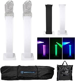 2) Totem Light Stands+Black+White Scrims For Chauvet Q-Spot 260 LED Moving Heads