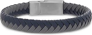 Steve Madden Stainless Steel Braided Blue Grey Leather Bracelet for Men