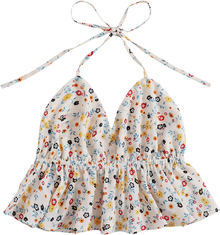 SweatyRocks Women's Ditsy Floral Ruffle Hem Halter Neck Crop Cami Tank Tops
