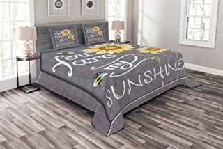 Lunarable You are My Sunshine Bedspread Set Queen Size, You are My Sunshine Quote on Blackboard Bees Sunflowers Vintage Image, Decorative Quilted 3 Piece Coverlet Set with 2 Pillow Shams, Grey Yellow