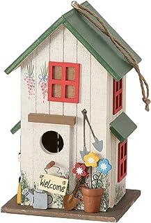 CasaJame Pajarera de madera multicolor y verde para jardín, nido, casa para pájaros, pajarera, decoración de balcón, 15 x ...