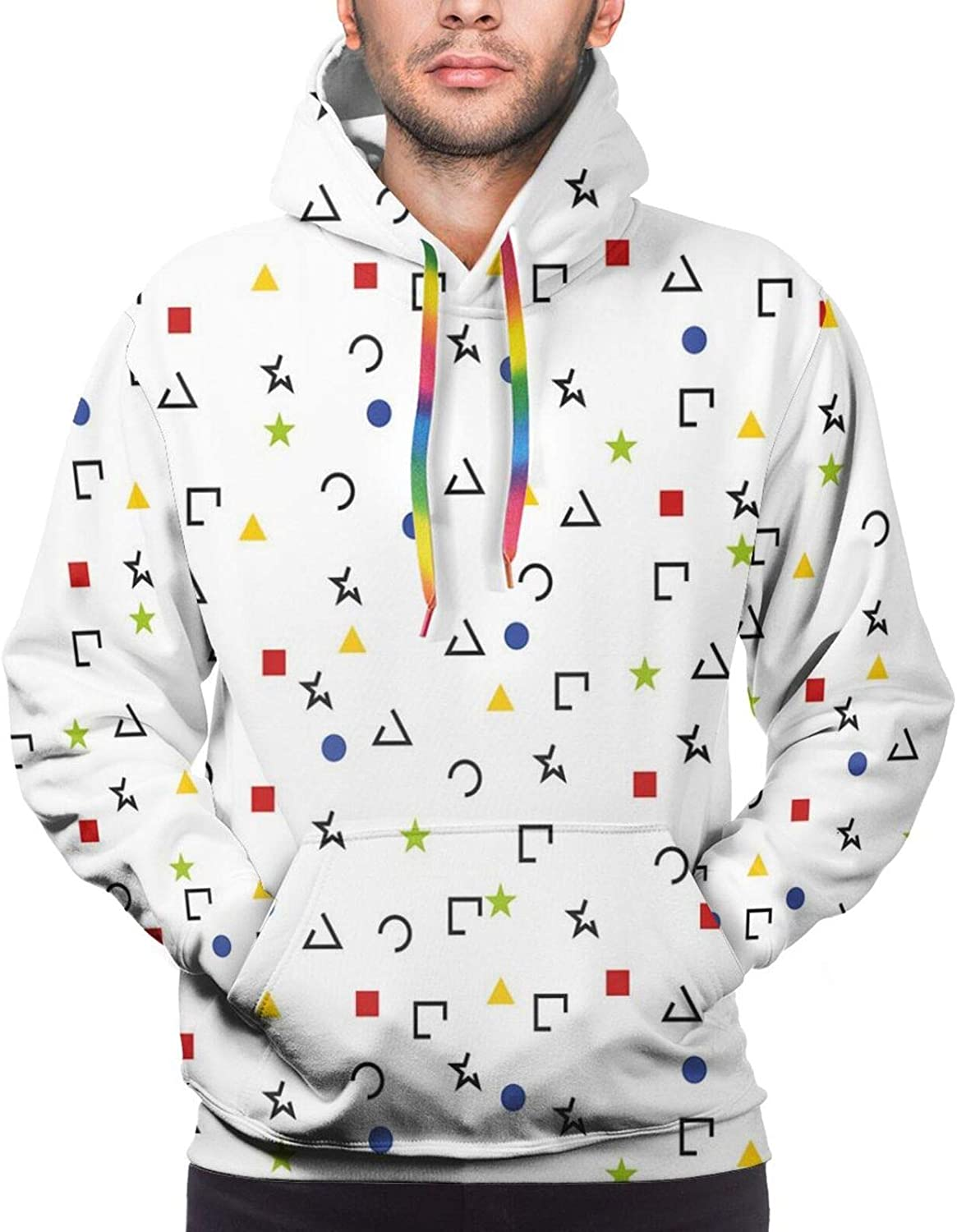 Men's Hoodies Sweatshirts,Abstract Triangle Silhouette and Outlines Big and Small Funky Retro Style