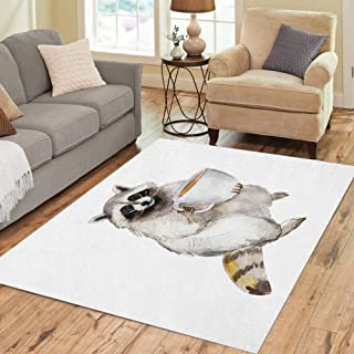 Semtomn Area Rug 3' X 5' Funny Raccoon Coffee Animal Character Watercolor Grey Amusing Big Home Decor Collection Floor Rugs Carpet for Living Room Bedroom Dining Room