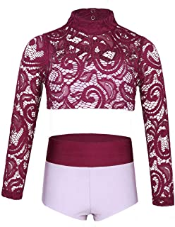 JanJean Kids Girls Sports Crop Top and Shorts Outfit Sets Activewear for Gymnastics Leotard Dancing Stage Performance