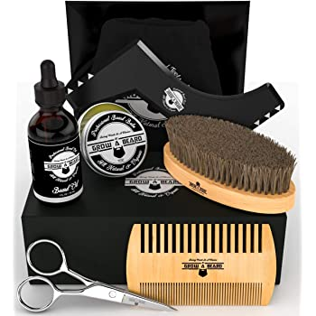 Beard Kit 6-in-1 Grooming Tool   Best Mustache & Beard Care Set for Men   Natural Balm, Unscented Oil, Boar Bristle Brush, Wood Comb, Trimming Scissors, Shaper Template   Great Male Gift Idea