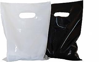 """Merchandise bags 9x12, plastic retail bags: ACME Bag Bros 200 small glossy black & white plastic merchandise bags with handles 9x12"""", plastic shopping bags; plastic merchandise bags, high density"""