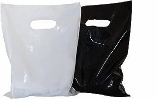 200 small glossy black & white plastic merchandise bags w/die cut handles 9x12
