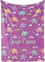 Personalized Corner Custom Elephant Pattern Purple Fleece Throw Blanket for Kids - Boys Girls Baby Toddler Infants Blankets for Bed (Baby/Pet 30