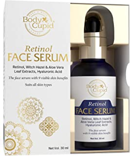 Body Cupid Retinol Face Serum with Hyaluronic Acid, Witch Hazel, & Aloe Extract - 9 Skin Benefits - 30mL