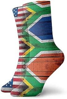 Flag Of South Africa And American Socks Women Men Crew Socks Winter Keep Warm Fashion Beautiful Socks