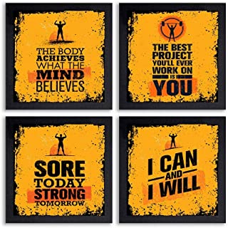 PnF® Set of 4 Motivational QUOTES-031-(28x28inch,Synthetic,Multicolour)