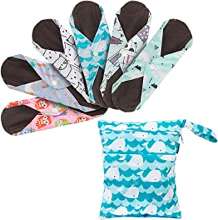 Teamoy 6Pcs 10 Inch Reusable Sanitary Pads, Cloth Menstrual Pads Washable Period Pads with Charcoal Bamboo Absorbency Laye...