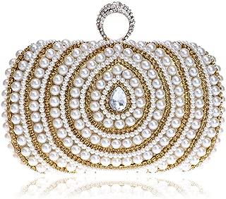 Long Pearl Ladies Clutch Bag, European and American Fashion Banquet Bag, Buckle Safety High-Grade Ladies Clutch Bag, Ladies Luxury Dress Evening Bag (16 * 5 * 10Cm),Champagne