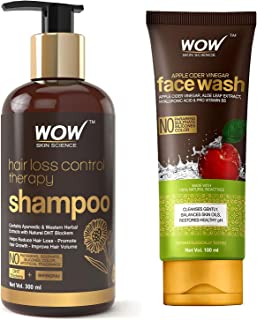 WOW Skin Science Hair Loss Control Therapy Shampoo 300 ml & WOW Skin Science Apple Cider Vinegar Face Wash