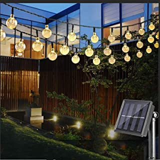 Solar String Lights Outdoor, 25 Feet 40 LED Crystal Balls Waterproof Globe Solar Powered Fairy String Lights for Bedroom Garden Yard Home Patio Wedding Party Holiday Decoration (Warm White)