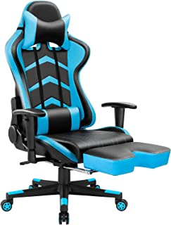 Furmax Gaming Chair High Back Office Racing Chair,Ergonomic Swivel Computer Chair Executive Leather Desk Chair with Footrest, Bucket Seat and Lumbar Support (Blue)