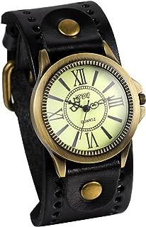 Unisex Punk Retro Bronze Round Dial Brown Wide Leather Belt Strap Cuff Bracelet Roman Numerals Analog Quartz Wrist Watches