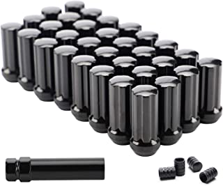 Flycle 14mmx1.5 Wheel Lug Nuts,  32x Black M14x1.5 Lug Nut, Conical/Cone Bulge Seat,  Closed End Long Extended XL Spline with 1 Socket Key Fits Chevy GMC Ram Ford 8 Lug Aftermarket Wheels