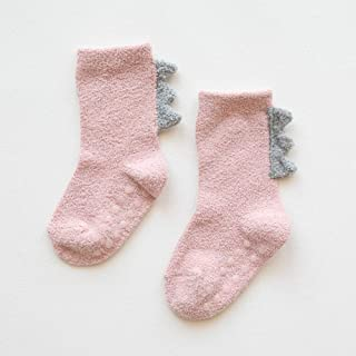 TZOU Newborn Babies Cartoon Anti-Skid Coral Fleece Stereo Baby Socks Medium Stockings 0-3 Years Old Pink S(Recommended 0-3 Years Old)