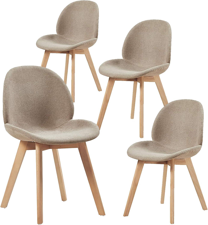 H.J WeDoo 4X Esszimmerstühle Skandinavisch Küchenstuhl Polsterstuhl mit Blatt-Design Stuhl Küchenstuhl Stoff Leinen Holz Grau