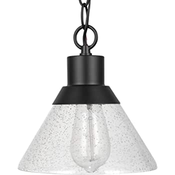 "Amazon Brand – Stone & Beam Contemporary Outdoor Pendant Light with Clear Seeded Glass Shade, Vintage Edison Bulb Included, 7""H, Matte Black"