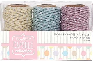 Papermania 20 m Bäckergarn, 3-teilige Capsule-Kollektion, Punkte und Streifen, Pastellfarben, Mehrfarbig