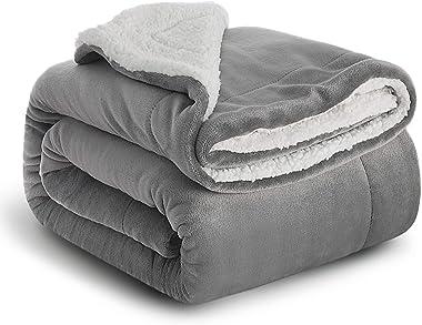 Bedsureブランケット 冬用毛布二枚合わせ シングルぶらんけっと 150x200cm厚手 おしゃれ グレー洗えるフランネル2枚合わせ もうふマイクロファイバー