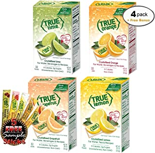 True Lemon, Lime, Orange & Grapefruit 32ct (4bx 32ct each) plus FREE sample packs of True Lemon Original Lemonade, Mango Orange, Peach Lemonade, Black Cherry Limeade, and Raspberry Lemonade