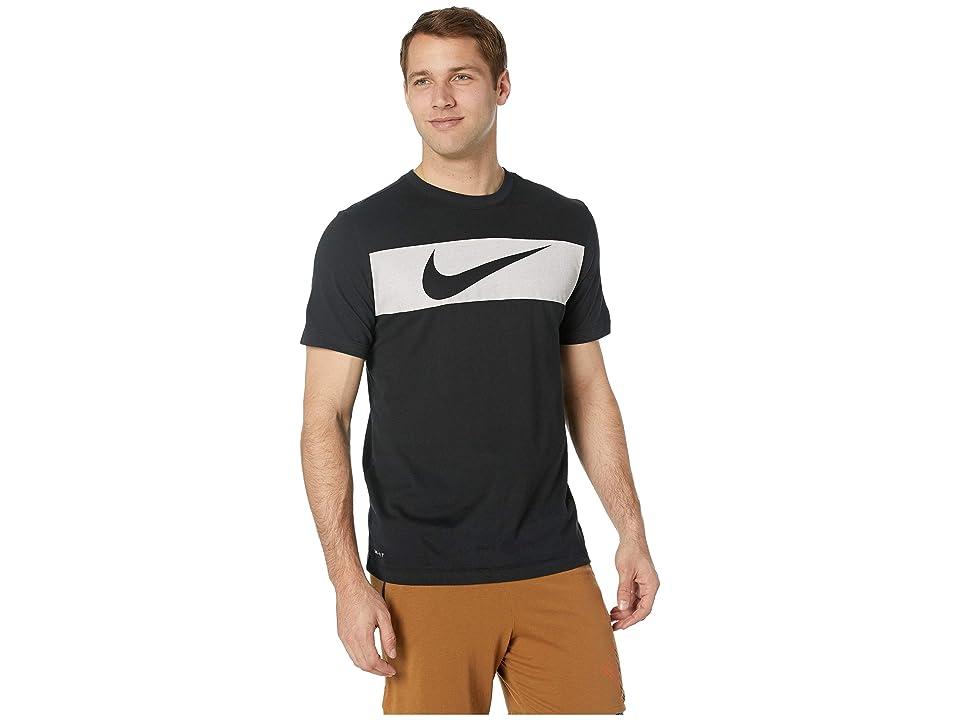 Nike Dry Tee Dri-FITtm Cotton Swoosh Bar (Black/White) Men
