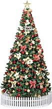 Christmas Tree with Star Ornaments Led Lights & Metal Stand Foldable Christmas Pine Tree for Traditional Holiday Indoor Ar...