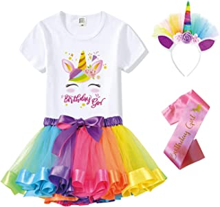 Unicorn Birthday Outfit for Girls - Unicorn Headband, Shirt, Tutu Dress & Satin Sash. Unicorn Costume for Party Supply