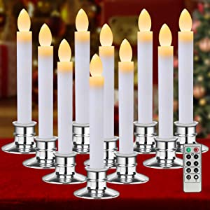 Christmas Window Candle Lights 10 Pack Flameless Candles Taper LED Christmas Decorations Battery Operated with Remote Control Timer Silver Holders for Window Décor Party Thanksgiving Xmas Table Top