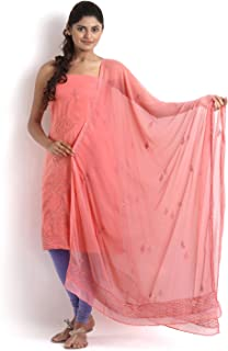 Peach Crepe Suit with Chikankari