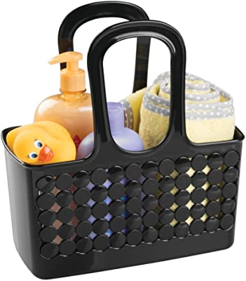 """iDesign 79222 Orbz Plastic Bathroom Shower Tote, Small College Dorm Caddy for Shampoo, Conditioner, Soap, Cosmetics, Beauty Products, 11.25"""" x 5.25"""" x 12"""" - Black"""