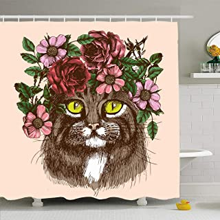 Ahawoso Shower Curtain Set with Hooks 72x78 Maine Coon Floral Sketch Head Pussycat Kitty Wreath Family Animals Wildlife Look Animal Textures Waterproof Polyester Fabric Bath Decor for Bathroom