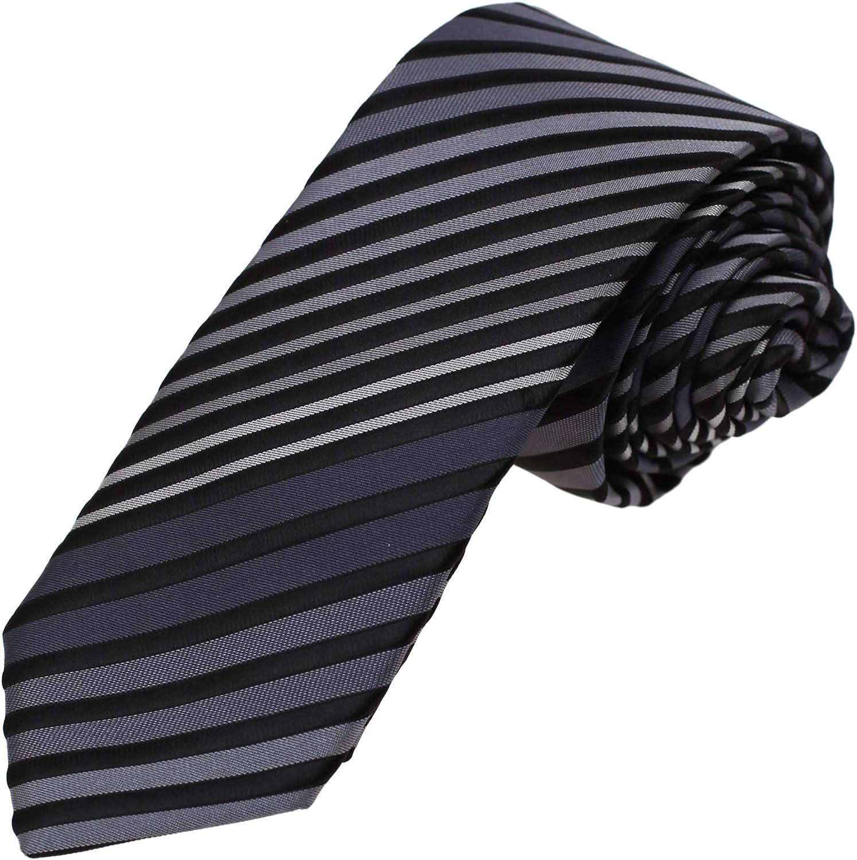Dan Smith Stripes Slim Necktie Microfiber Skinny Tie For Bridegrooms With Box