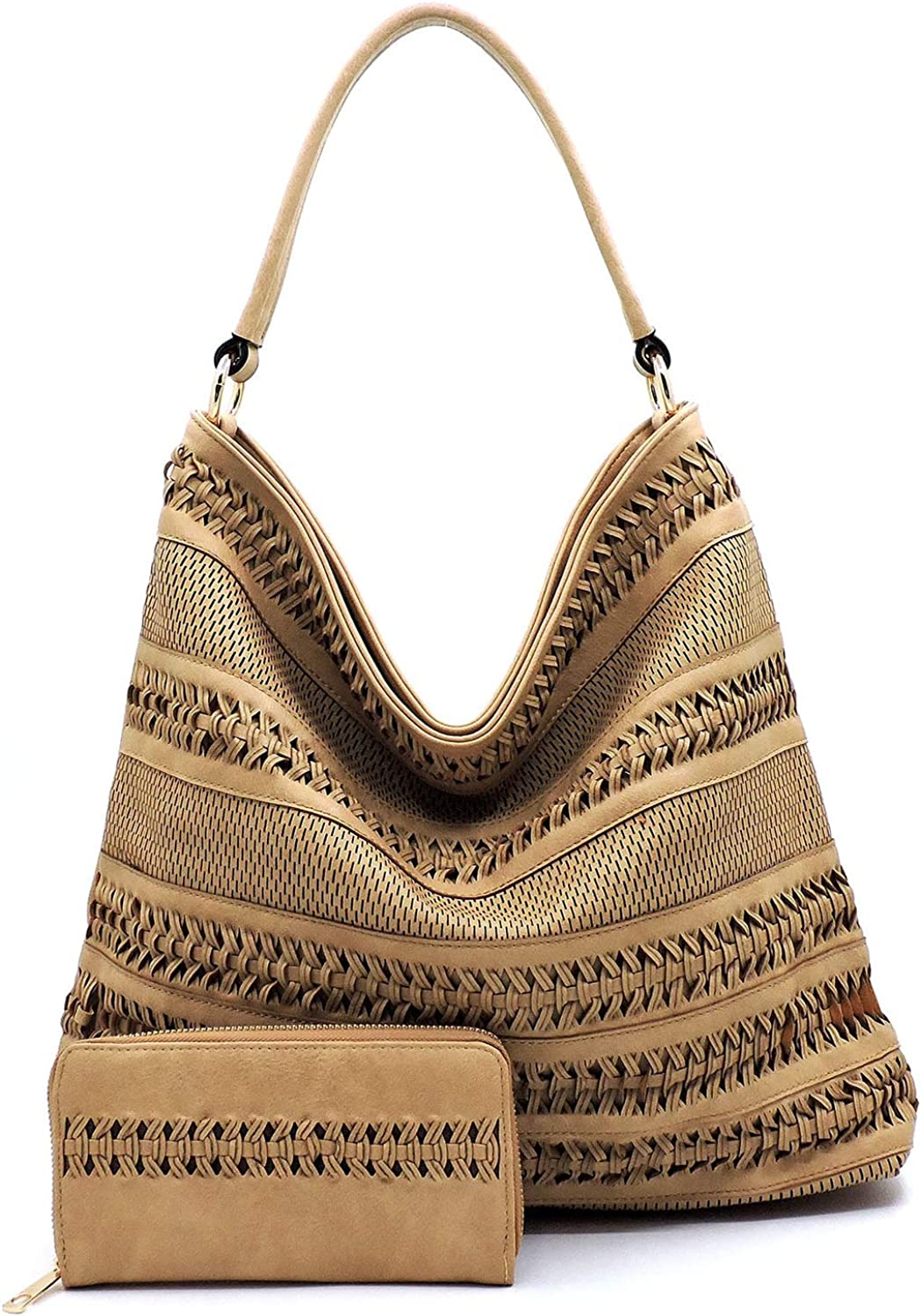 Le Miel Perforated Woven Classic Ziptop Large Hobo + Wallet