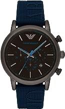 Emporio Armani Men's Luigi Stainless Steel Analog-Quartz Watch with Silicone Strap, Blue, 14 (Model: AR11023)