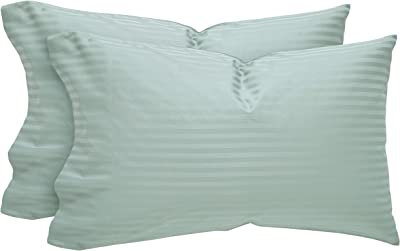 Amazon Brand – Stone & Beam 100% Cotton Dobby Stripe Sateen Pillowcase Set, Set of 2, King, Oasis