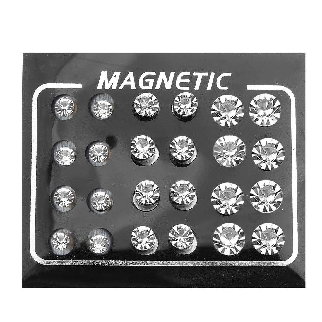 24 Pieces Magnetic Fake Plug Lot Fake Gauges Ear Studs Round Rhinestone Stud Earring Mix Gauges Look…