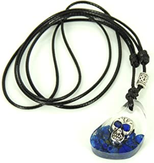 Made to Order Handmade Polished Epoxy Resin Pendant Necklace Embedded Zombie Skull Bead Small Natural Lapis Lazuli Gemstone Chips Adjustable Wax Rope Genuine Tibetan Silver 925 Sterling Silver