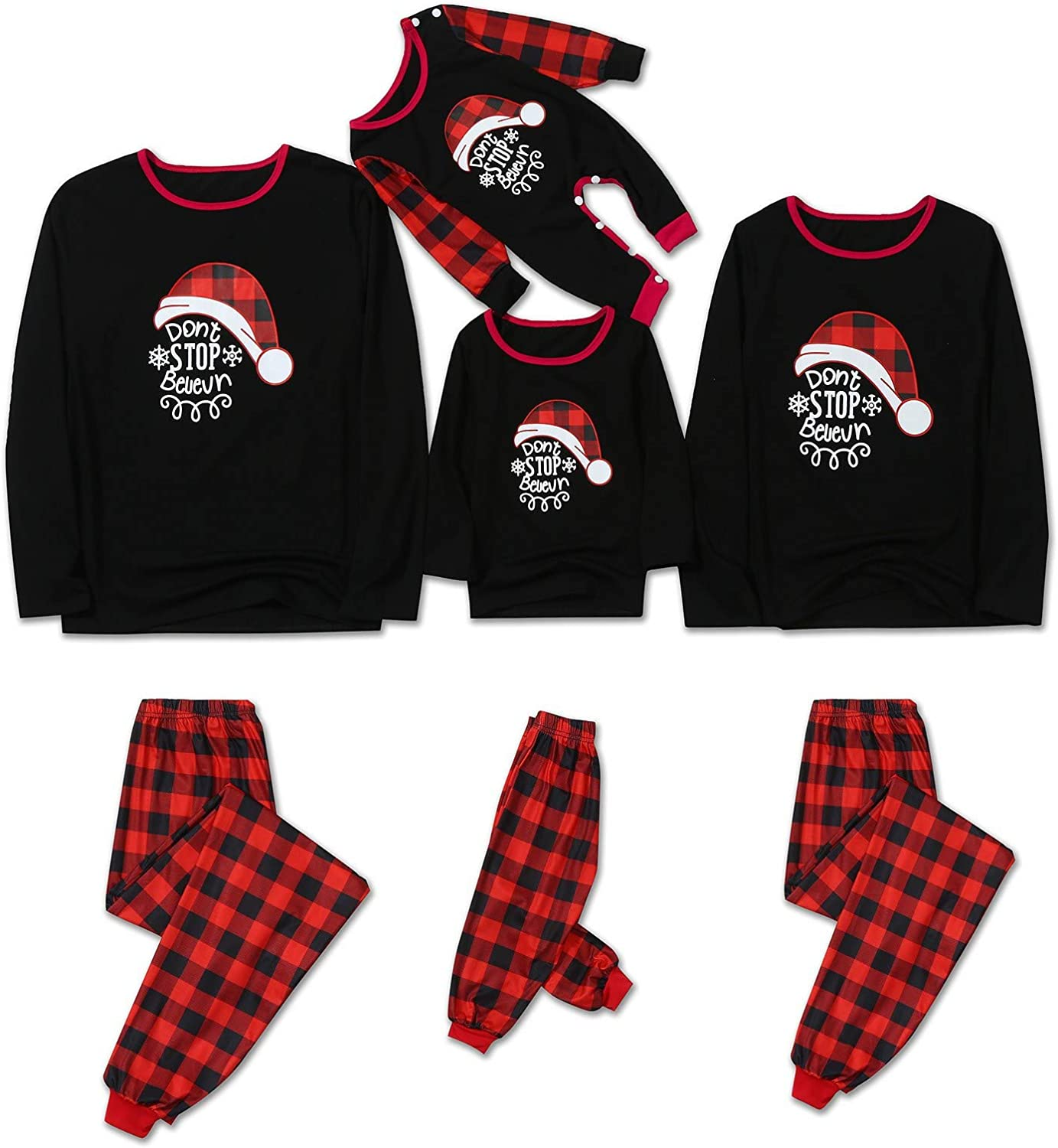Christmas Pajamas for Family Classic Black Red Plaid Printed Sleepwear Outfits,Leisure Nightgown Sets for Mom Dad and Kids